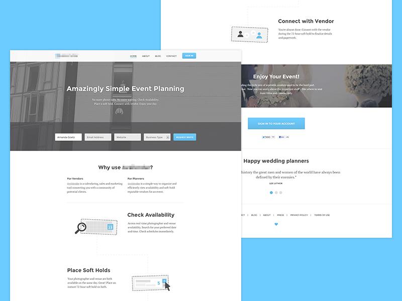 Homepage Design wedding planner clean fresh blue sky whitespace ux homepage event