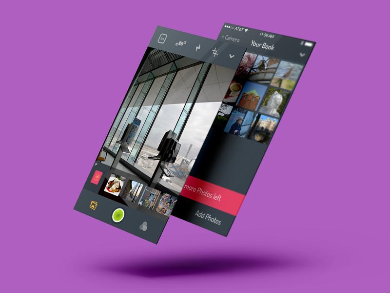Photo App ios photo app flat minimal clean colorful playful camera dark