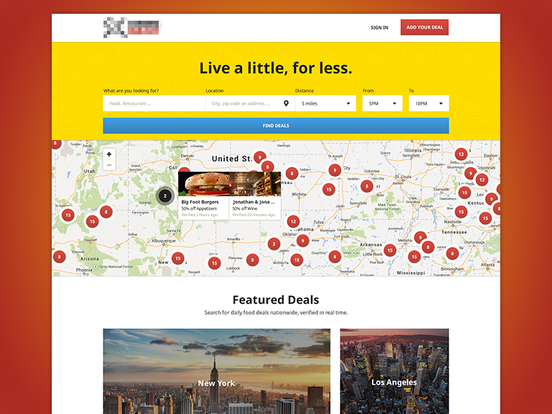 DD Landing Page Design deals daily food drinks colorful simple clean warm map homepage