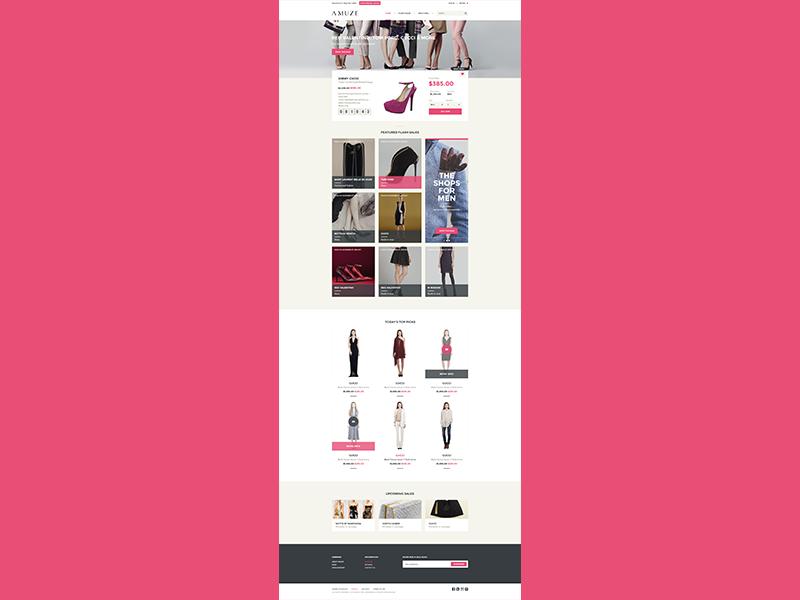 Amuze Ecommerce Homepage shopify fashion sale ecommerce homepage home