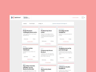 AppOutLoud - Ideas Page competition ideas list typography clean minimal ui ux pastel webapp app