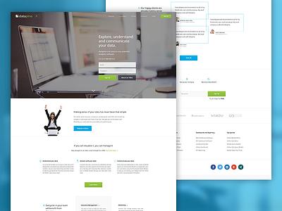 Datapine Homepage web ux site modern website green blue corporate clean homepage home