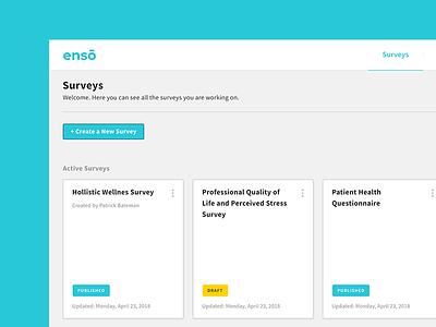 Enso Admin Dashboard - Survey Creation Tool simple card clean interface ux ui dashboard admin survey