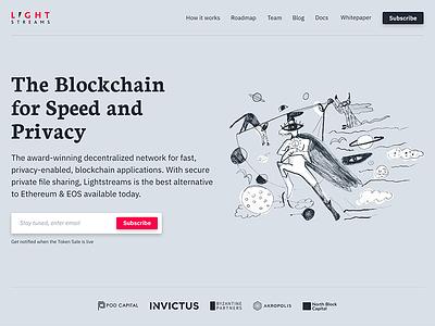 Lightstreams Network Website homepage absurd crypto blockchain website design illustration typography simple modern clean