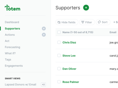 Totem Dashboard software nonprofit platform dashboard app user interface green simple modern ux ui clean