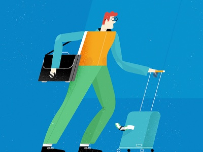Traveler business plane glasses character airport bag case travel