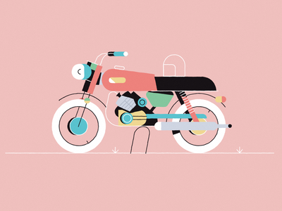Vroom adrienkulig moto illustrator design colours wheels vintage motorbike flat illustration