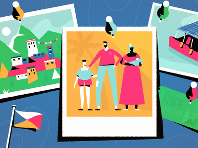 Voyage flag people character characterdesign design flat photoshop adrienkulig colours travel family trip