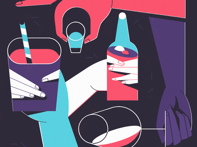 Cheers hands illustration party drinks