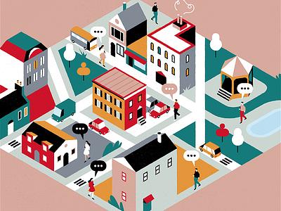 Neighbourhood people isometric city vector design colours flat adrienkulig illustration