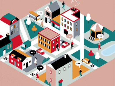Neighbourhood people isometric city vector design colours flat adrienkulig illustration
