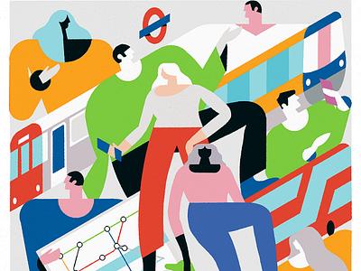 TFL app phone uk direction map buse train transport london procreate vector design art illustrator characterdesign texture digitalart colours illustration flat