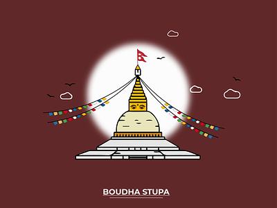 BOUDHA STUPA peace life graphic concept uiux ui buddha god illustrator design illustrator