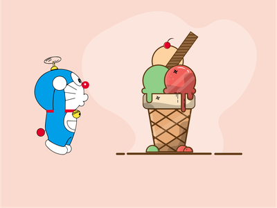 Doraemon  ❤️ Still my Favorite illustration art childhood love character cartoon uiux ui icecream doraemon concept idea cute art life cute illustration