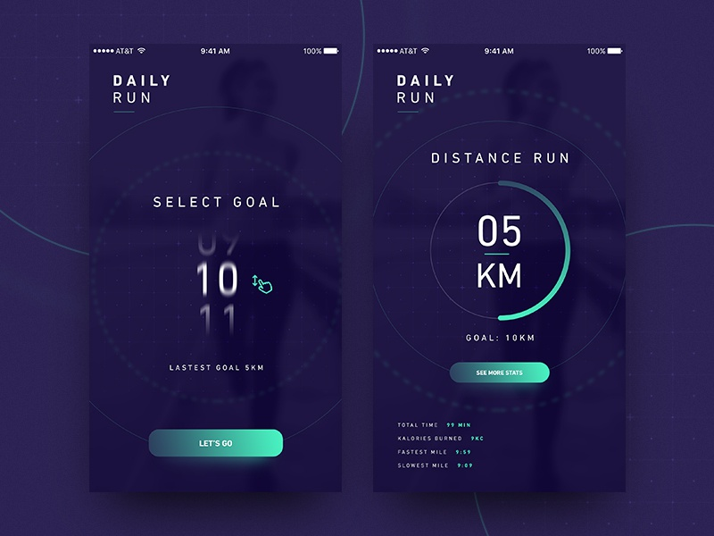 Daily Run mockup bold fitness running vector phone mobile design app ux ui