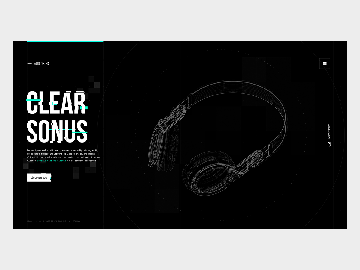 AudioKing | Clear Sonus (product page landing - exercise) minimal distortion glitch music clean grid layout typography ui design
