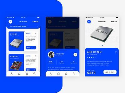AMD Online Store App - Concept Design ux interaction app mockup template clean grid minimal layout ui design