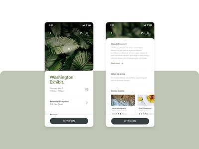 Event App mockup interaction typography ux clean minimal app layout ui design