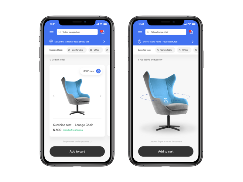 Product view with 360º features mobile app mobile ui mobile product design ecommerce ecommerce app app interaction clean layout ui design