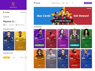 FanzClub sports blockchain web deisgn interface design