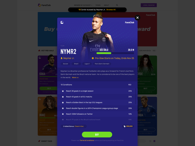 FanzClub sports blockchain web design interface design