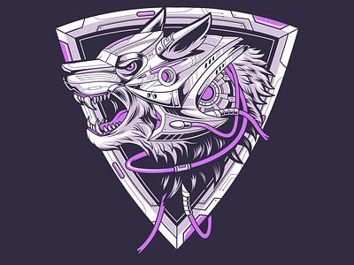 Cyberpunk wolf artwork vector coreldraw indonesia digital art designer illustration