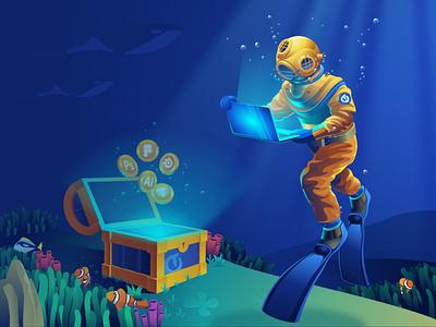 Diver Illustration - Exploration flat illustration ocean character flat adobe illustrator illustration vector