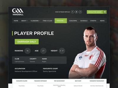 gaa handball player profiles by web together dribbble. Black Bedroom Furniture Sets. Home Design Ideas