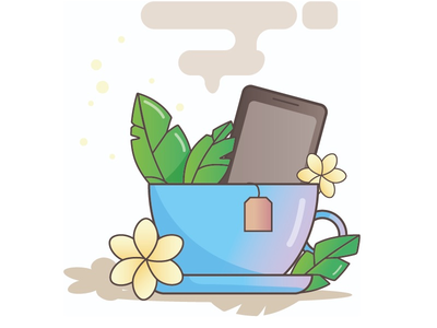 Cup with phone phone cup vector illustration design ui