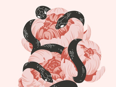 flowers and snakes vector design ui illustration