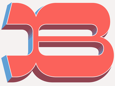 B lettering chromatic b overlay red white and blue