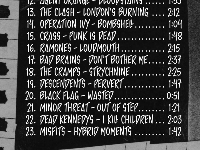 Papanek Punk Rock playlist typography grayscale photocopy xerox mix tape black and white punk rock