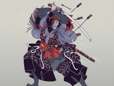 ChevalierBandit[13] character colors samurai cover design japanese japan illustration