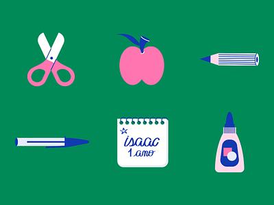 Isaac Stickers illustrator teacher apple pencil pen glue scissor kindergarten graphic design illustration education