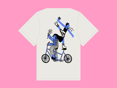Pipo's T-shirt serenity happiness silk screen flower butterfly comfort welfare bycicle bird cat procreate illustration graphic design t-shirt