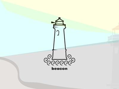 Lighthouse light fog inc shore lighthouse dailychallenge logo vector dailylogochallenge dailylogo