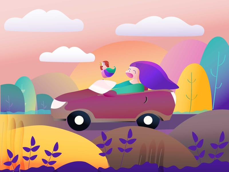 Holiday cartoon car vector illustration vector sunset rooster holiday character ilustration