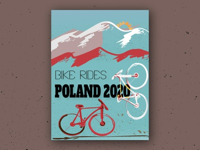 Bike Rides red and white three crowns mountains poland bikes ilustration poster daily vector