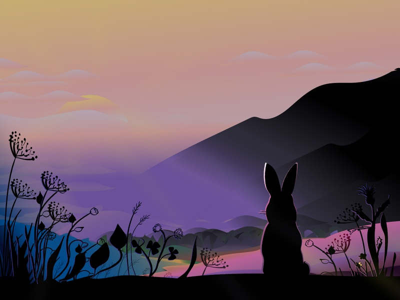 Bunny with landscape bunny hare gradients sunset mountains meadow landscape ilustration daily vector