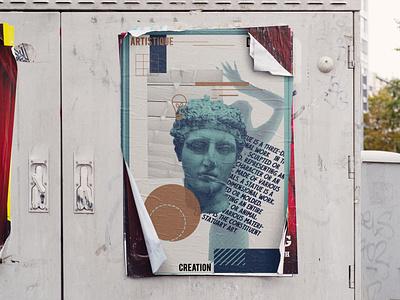 Poster design art graphique design illustration graphic design design poster design statue poster