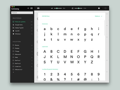 fontCatalog - Font management application fontcatalog fontbook preview explorer ui design organize typeface management manager application app