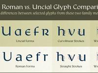Rieven Roman vs. Uncial Glyph Comparison