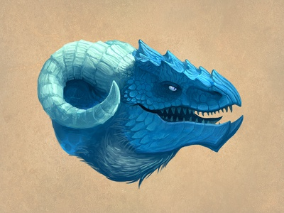 Dragon - Blue frost illustration bill harkins creature fantasy blue dragon