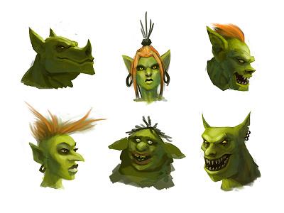 Troll Heads heads studies sketches creatures goblins trolls