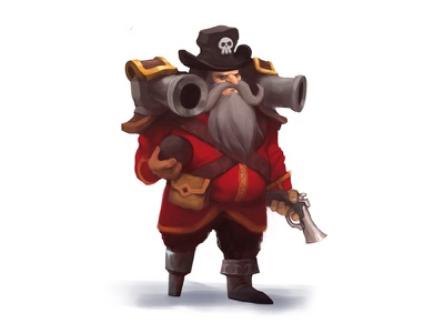 Captain Boomer illustration sketch cannoneer cannons pirate