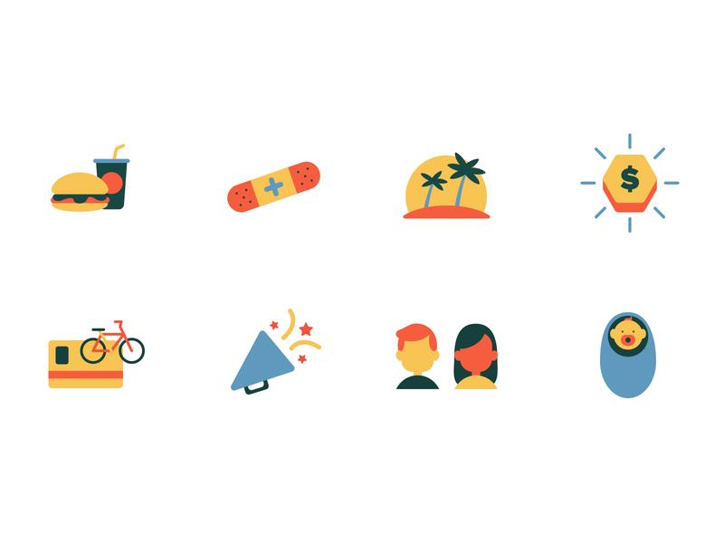 Employee Perks Icon Set