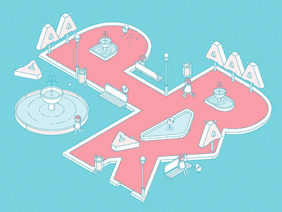 Commissioned Works / Late 2018 isometric typography typo park