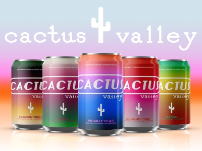 Cactus Valley Can Mock-Ups sparkling water brand mockup mockup illustrator photoshop logo branding graphic design design
