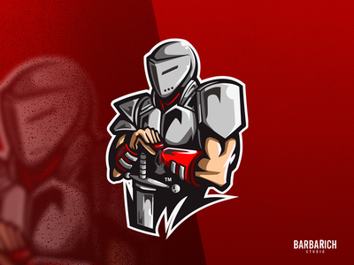 KNIGHT mascot logo colour cool icon hero sword soldier armor red knight illustration streamer dribbble twitch esportlogo cartoon art gaminglogo logo design mascot