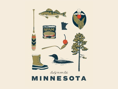 Minnesota Things drawing typography illustration design state poster twin cities minneapolis procreate nature art fish loon nature illustration retro illustration vintage illustration midwest digital illustration minnesota illustrator illustration